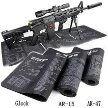 Alfombrilla de goma para limpieza de pistola AR15 AK47, con instrucciones de modelado, alfombrilla de ratón de banco para Glock 1911 Beretta 92 HK USP