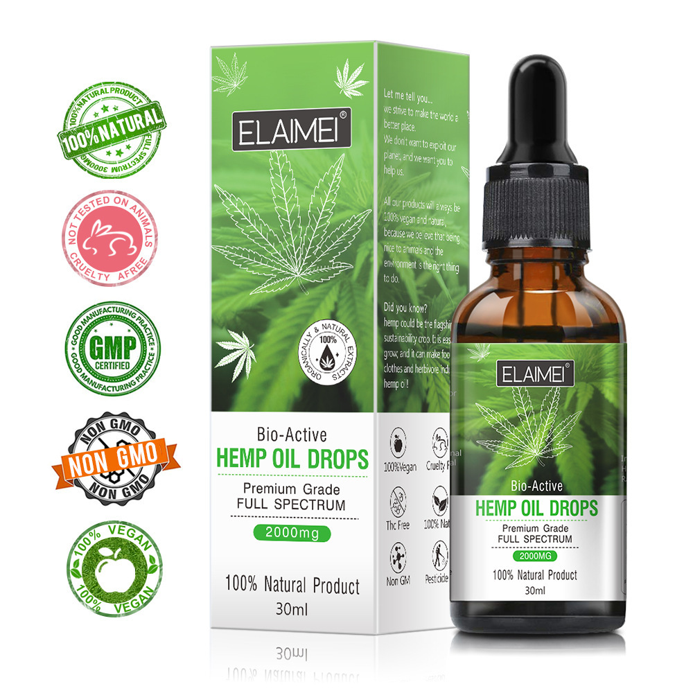 30ml Organic Essential Oils Hemp Seed Oil 2000MG Herbal Drops Relieve Stress Cbd Oil Facial Body Skin Care Help Sleep DROP SHIP