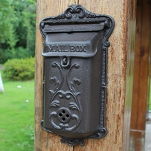 small wall mounted cast iron mailbox, metal mailbox Gardon Decor Free Shipping wrought letter box 20.5*37cm