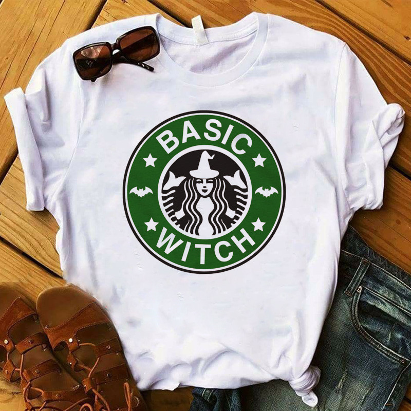Womens Basic Witch Coffee <font><b>Halloween</b></font> <font><b>Graphic</b></font> Printed Tee Shirt Short Sleeve Top <font><b>Tshirt</b></font> Female Hipster Clothes T-shirt image