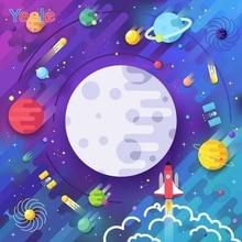 Cartoon Universe Planet Spaceship Astronaut Backdrop Newborn Baby Boy Birthday Custom Photography Background For Photo Studio