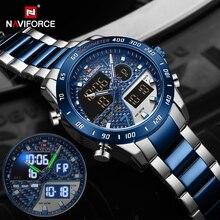 Men Watch Clock NAVIFORCE Sport-Wristwatch Steel-Strap Digital Military Waterproof Relogio