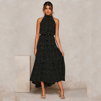 Summer Long Dress Polka Dot Casual Dresses Black Sexy Halter Strapless New 2020 Yellow Sundress Vacation Clothes For Women 9