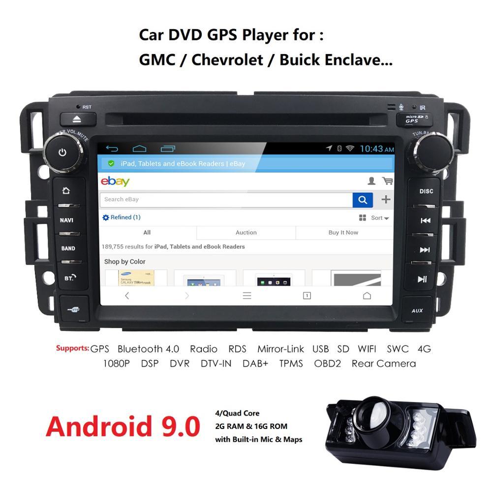 Lecteur DVD de voiture 7 pouces 2 Din android 9.0 IPS pour GMC Yukon Denali Acadia Savana Sierra Chevrolet Express Traverse Equinox miroir