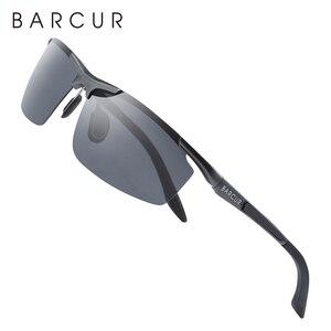 Image 5 - BARCUR Aluminum Magnesium Sports Polarized Sunglasses Men Mirror Sun Glasses Male oculos