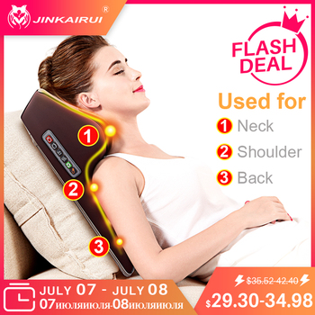 Jinkairui Neck Massager Car Home Cervical Shiatsu Massage Neck Back Waist Body Electric Multifunctional Massage Pillow Cushion цена 2017