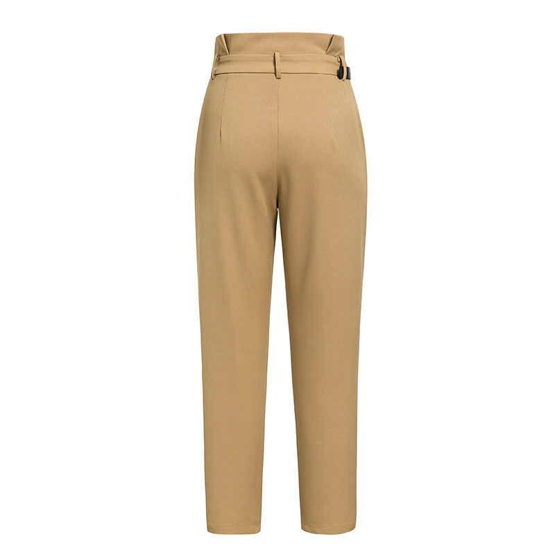 Conmoto yüksek bel kalem dipleri pantolon kadınlar 2019 sonbahar kış kadın rahat kemer Patchwork uzun pantolon Blazer femme pantolon