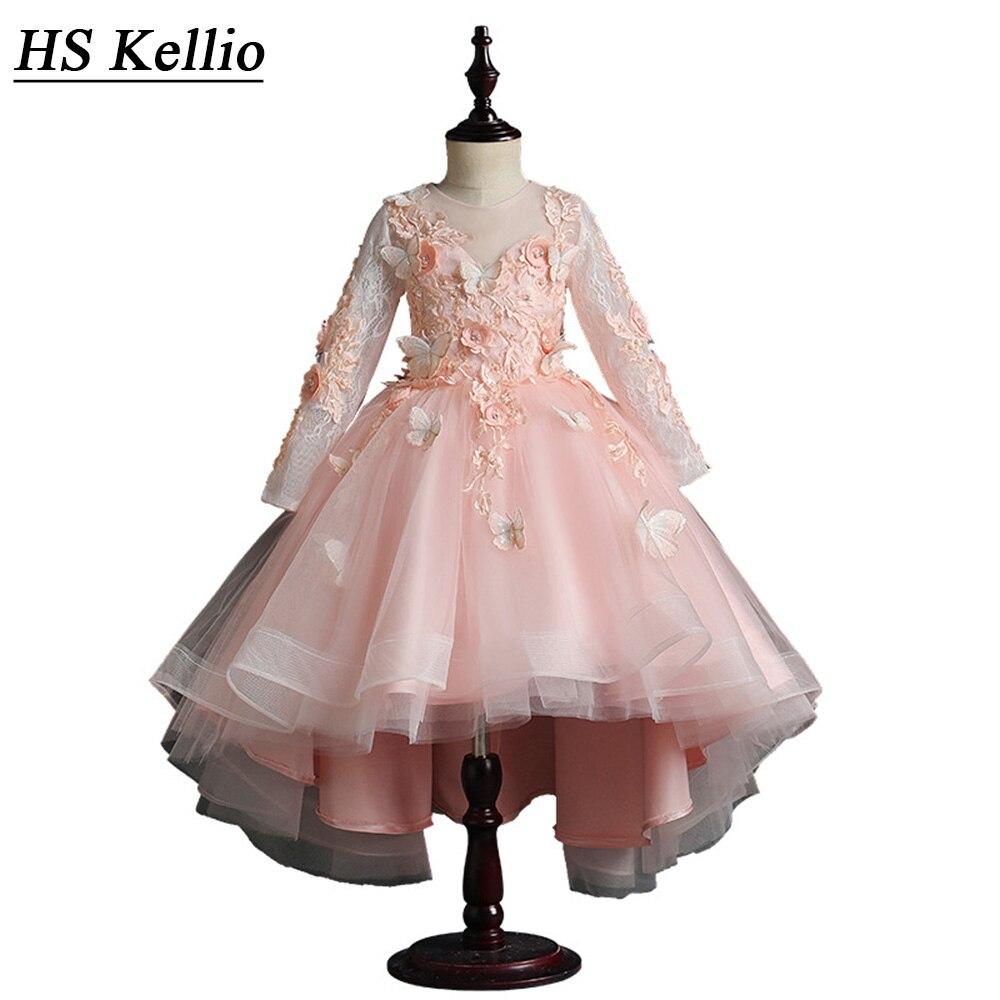 HS Kellio   Girls  '   Dress   Wedding High Low Long Sleeve Princess   Flower     Girl     Dresses   Pink Butterfly   Flowers