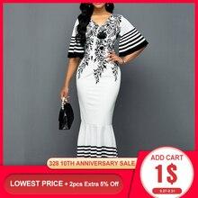 White African Women Dress Mermaid 2020 Summer Flower Printed Ruffle Sleeve Long Dresses Rob
