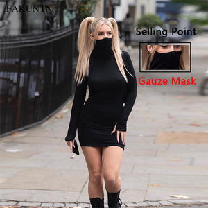 FAKUNTN Woman Sexy Dress Autumn Winter 2020 Streetwear Slim Elastic Party Long Sleeve Female Black Dresses For Women Clothes