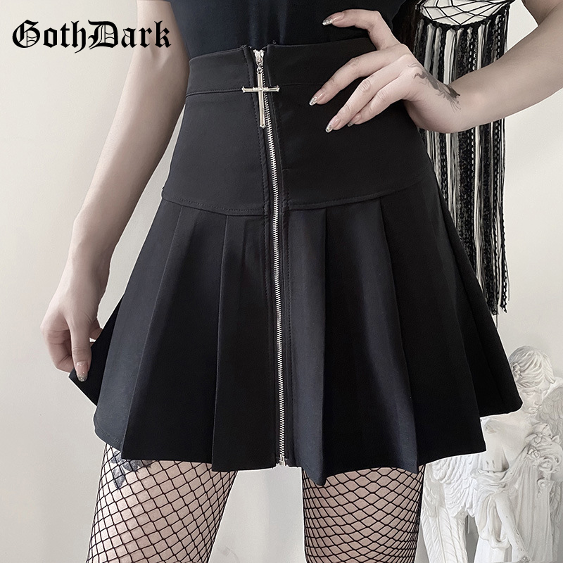 Goth Dark Gothic Vintage Punk Black Skirts For Women Pleated Harajuku Aesthetic Spring 2020 Skirt Emo Egirl Y2K Punk Grunge Chic