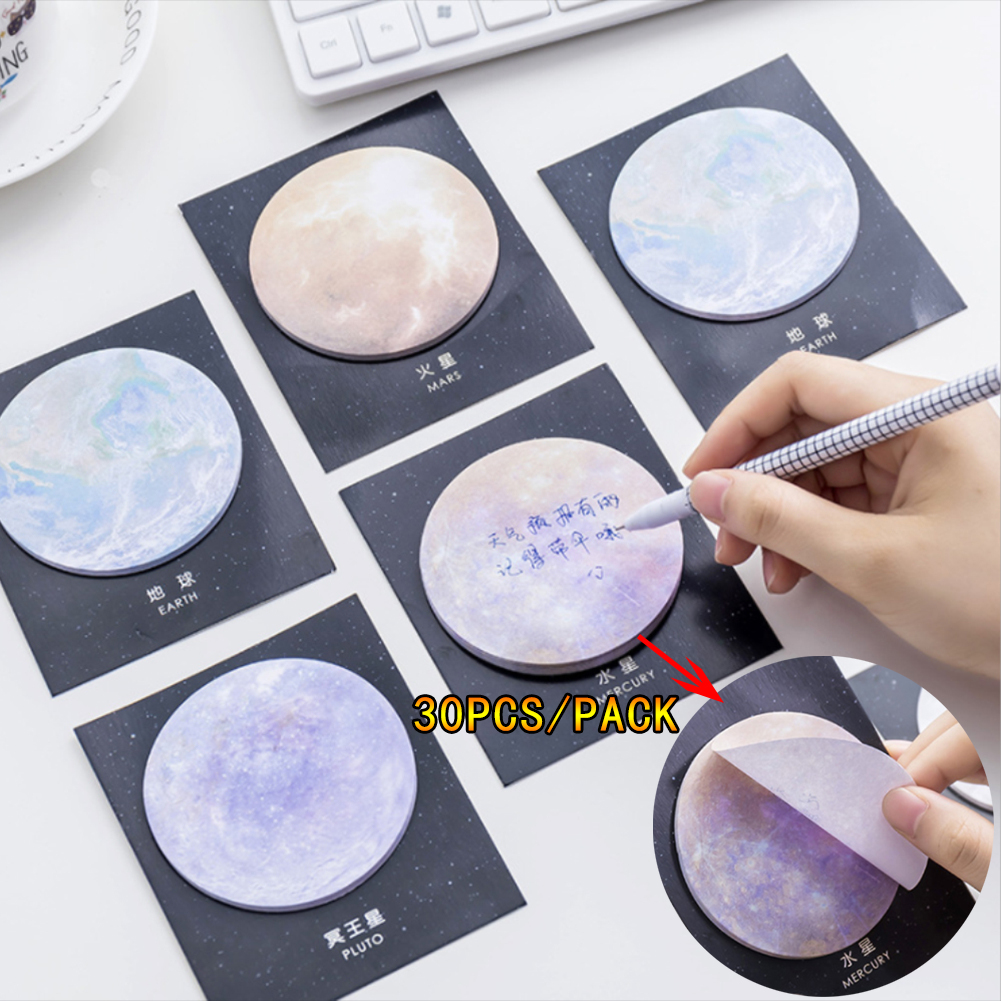 30PCS/Pack Planet Earth Pluto Moon Mini Memo Pad N Times Sticky Notes School Supply Bookmark Post It Label Memo Sticker