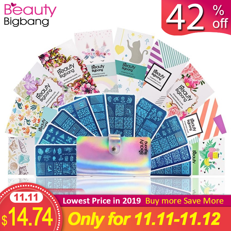 BeautyBigBang Nail Stamping Plates10 Pcs Set For Nails Art 6*12cm Rectangle Summer Flower Plate Template With Bag