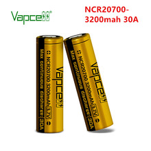Original Vapcell li ion battery 20700 3200mah 30A NCR20700A mod rechargeable lithium Batteries cell for flashlight Free shipping