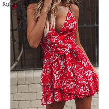 цена на Sleeveless High Waist Dress Female Holiday Wind Flower Print Straps Waist Design Slimming High Swing Dresses