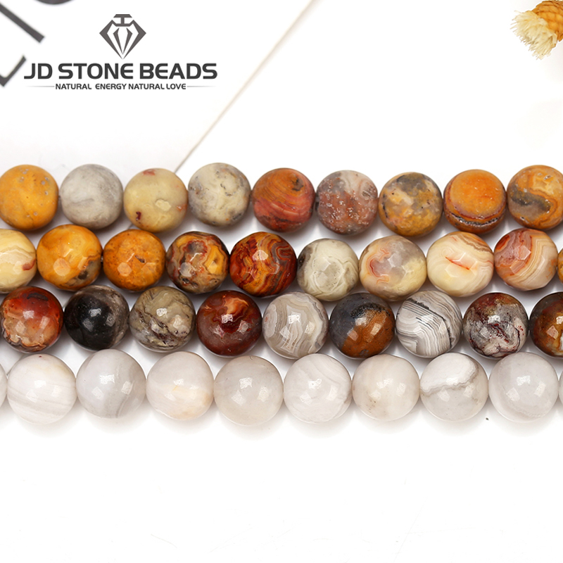 3Colors Natural  Crazy Agate Beads Matte Agate Round Stone  Beads Cutting GEM  Stone  Beads For Jewelry Making