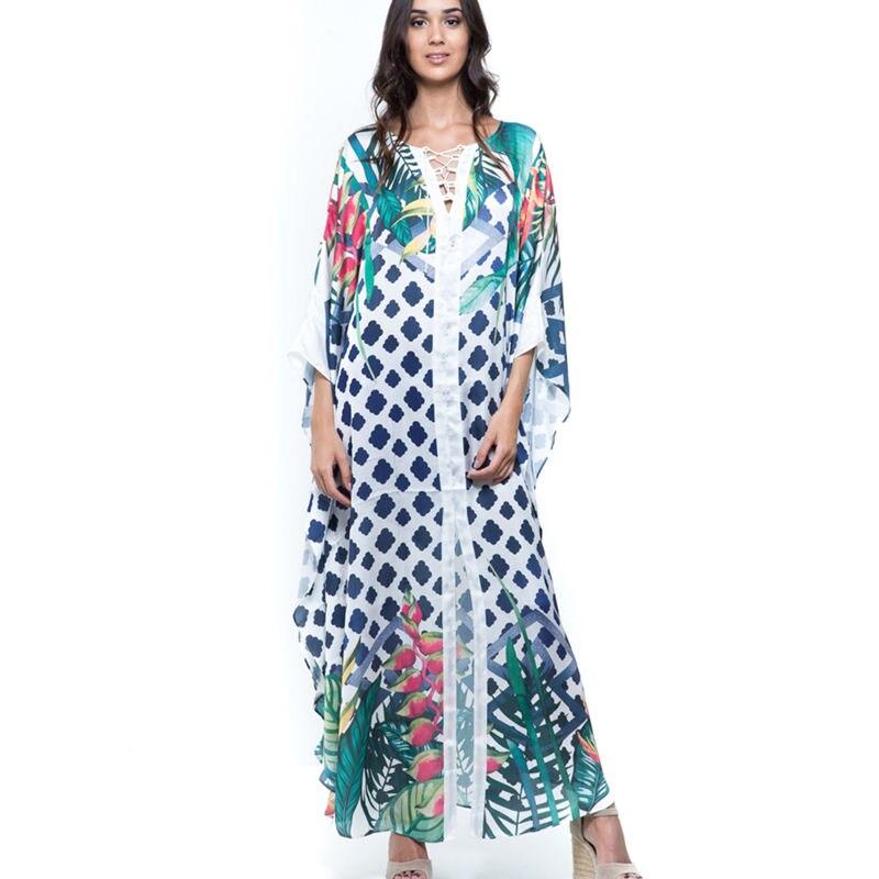 Image 3 - 2020 Quick drying Bikini Cover ups Bohemian Geometric Printed Summer Beach Dress Green Cotton Tunic Women Swimwear Cover Up Q994Cover-up   -