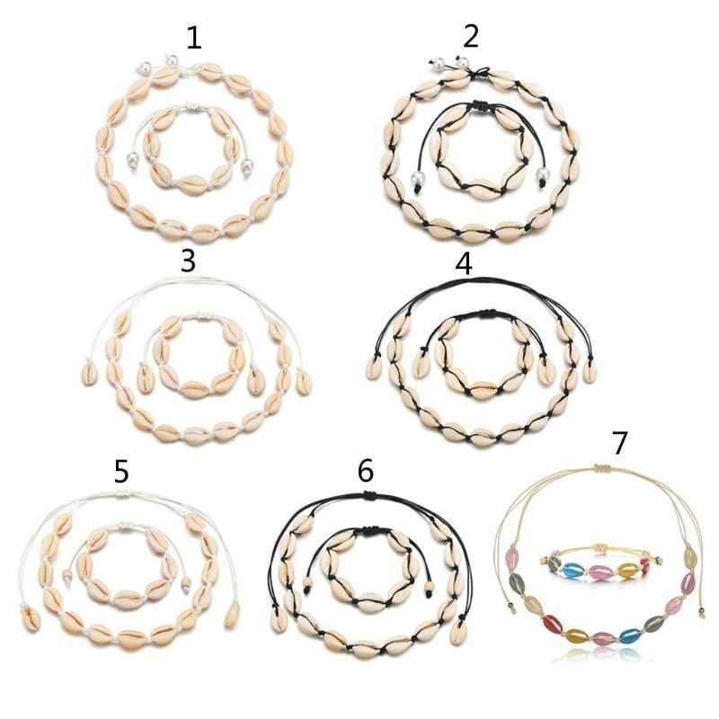 BoHo Alami Shell Wanita Gelang Kalung Perhiasan Set Pantai Hawaii Perhiasan