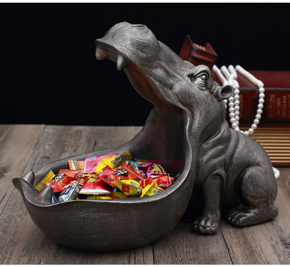 Hippo Animal Statue Home Decor Figurine Sculpture Desktop Art Storage Ornament