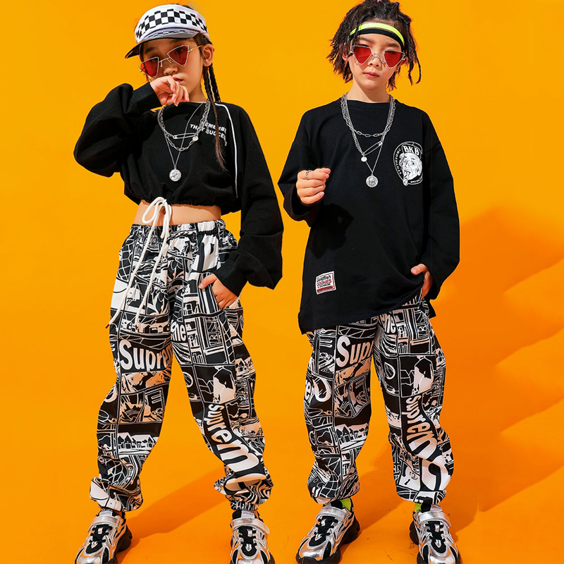 Children'S Hip Hop Costume Girls Jazz Costume Suit Boys' Long-Sleeved Street Wear Kids School Stage Performance Costume BI038