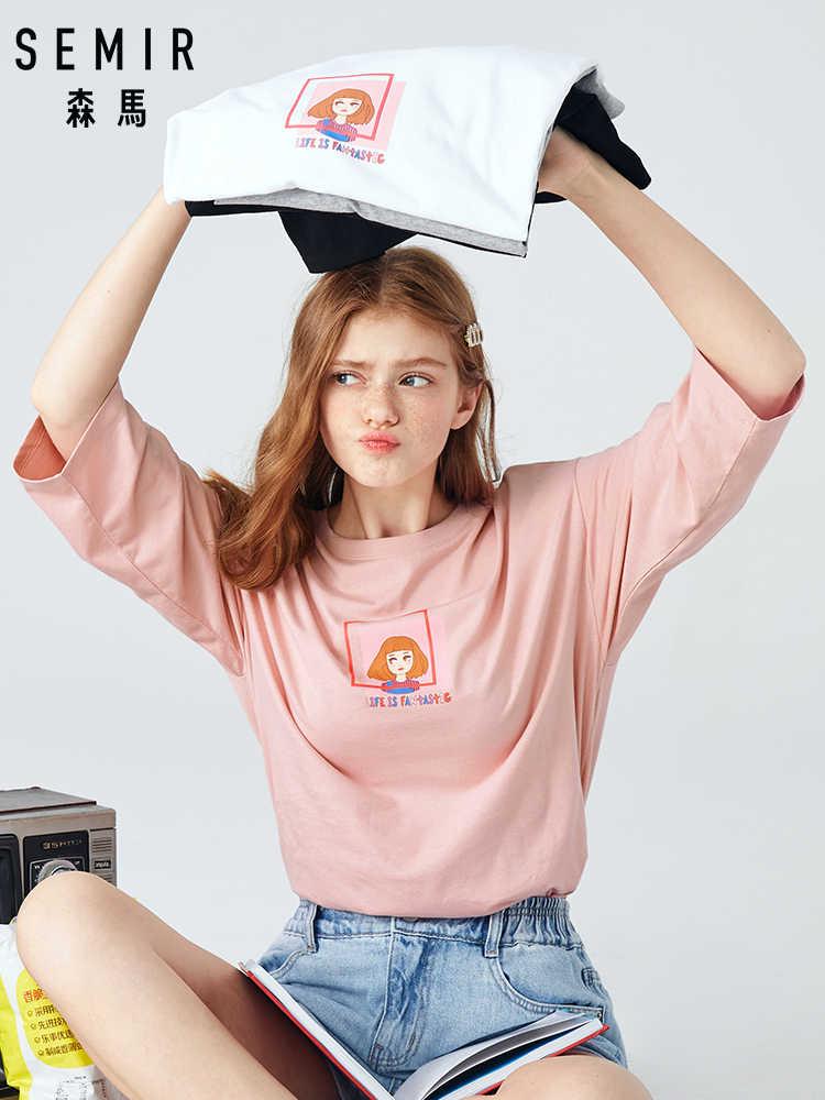 Semir T-shirt Longgar Wanita 2019 Musim Gugur Baru Cetak Kapas Gadis Tide T-shirt Tipis Tujuh Poin Lengan Tshirt Kasual