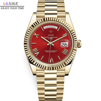 LGXIGE Top Brand High Quality Calendar Date Display Stainless Steel Waterproof Bezel Quartz Watches