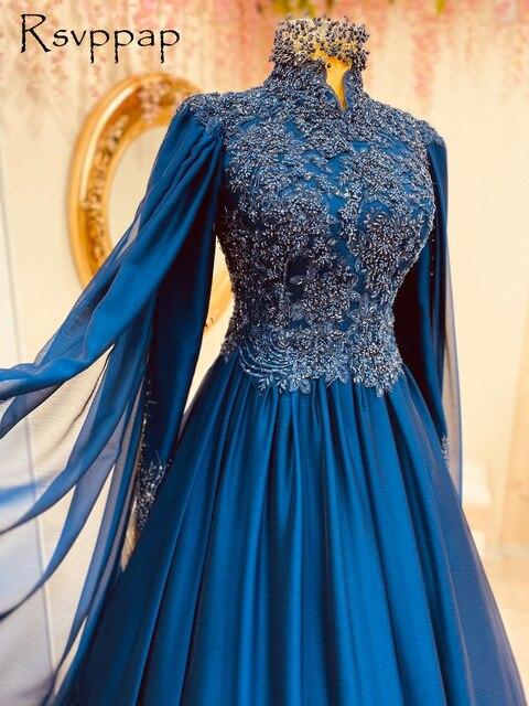 Muslim Style Long Sleeve Evening Dresses High Neck Lebanon Women Dubai Female Dark Blue Chiffon Beaded Formal Evening Gowns