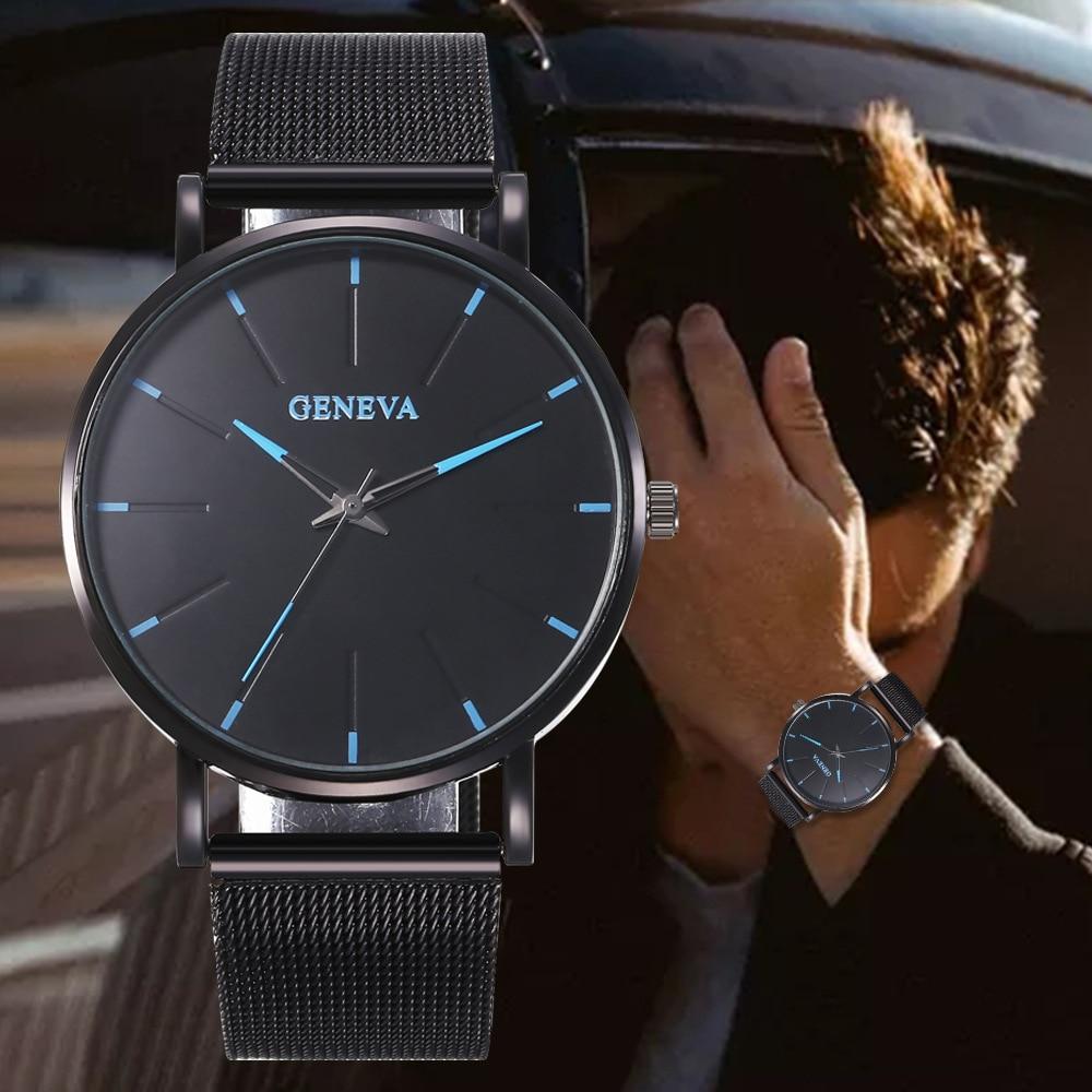 2020 Minimalist Men's Fashion Ultra Thin Watches Simple Men Business Stainless Steel Mesh Belt Quartz Watch Women