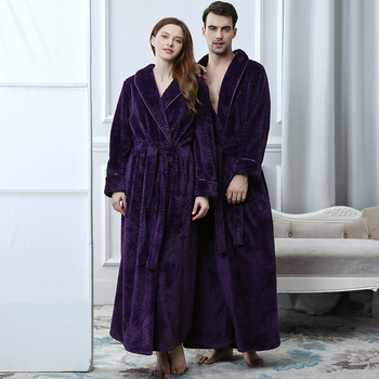 Grid Flannel Bathrobe Mens Luxury Kimono Bath Robe Women Sexy Robes Male Thermal Dressing Gown