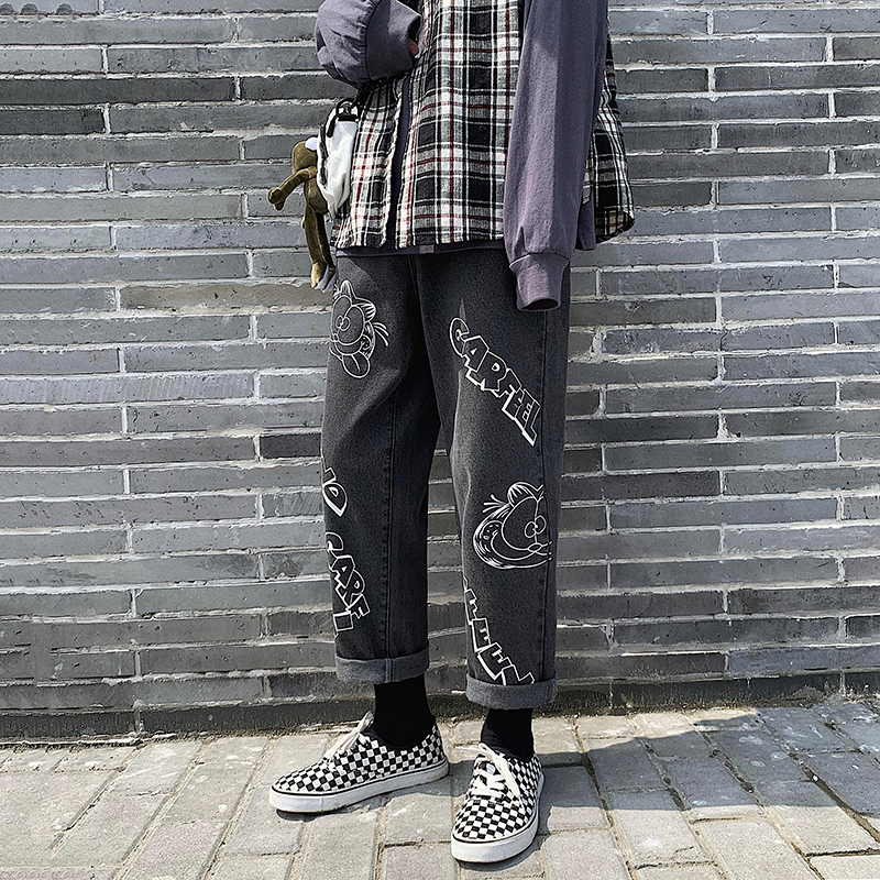 2019 Men's Lovers Cartoon Printing Baggy Homme Casual Pants Classic Style Cargo Pocket Jeans Mens Biker Denim Trousers S-2XL
