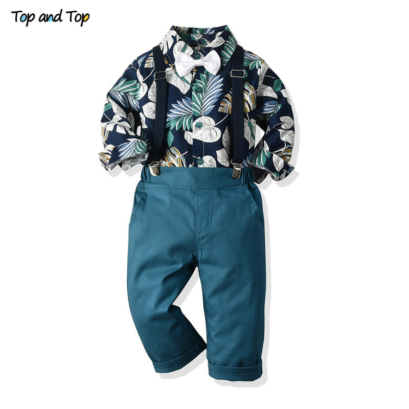 Top and Top Fashion Boy Clothing Set Long Sleeve Printed Bowtie Shirt+Suspender Pants Kids Clothes Boys Gentleman Suits Bebe