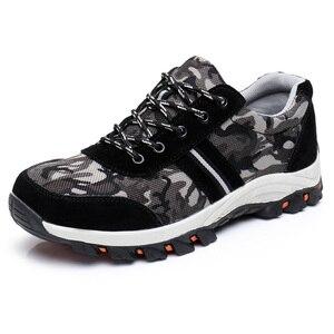 Image 1 - Sapatas de trabalho pretas com sapatas de construção de toecap de aço botas de segurança reflexivas