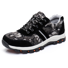 أحذية عمل سوداء مع أحذية البناء Toecap الصلب أحذية السلامة العاكسة