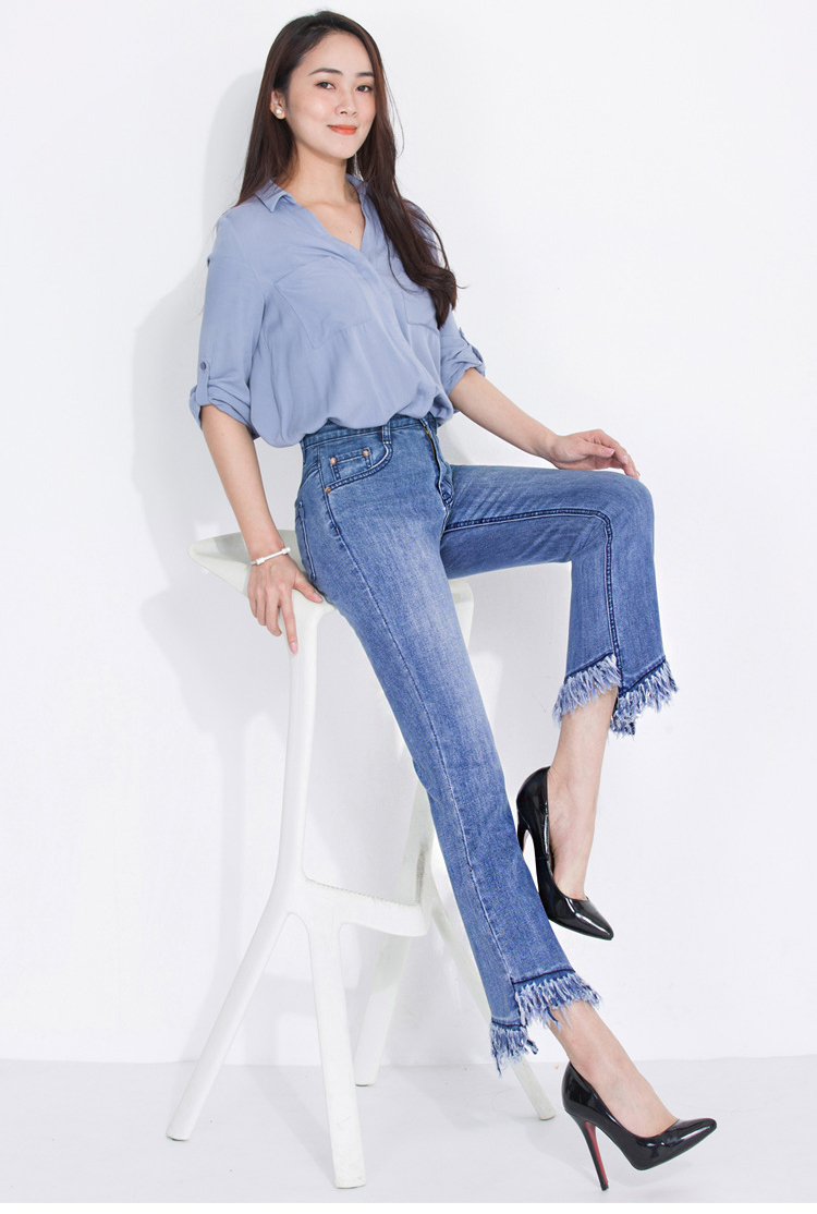 KSTUN FERZIGE jeans woman high waist jeans stretch blue spring and summer ankle length pants tassels flares women's clothing 11