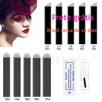 100pcs 0.18mm Lamina Tebori Flex Microblading 12 14 16 18 U shape Tattoo needles for Permanente makeup Eyebrow Blades Manual pen