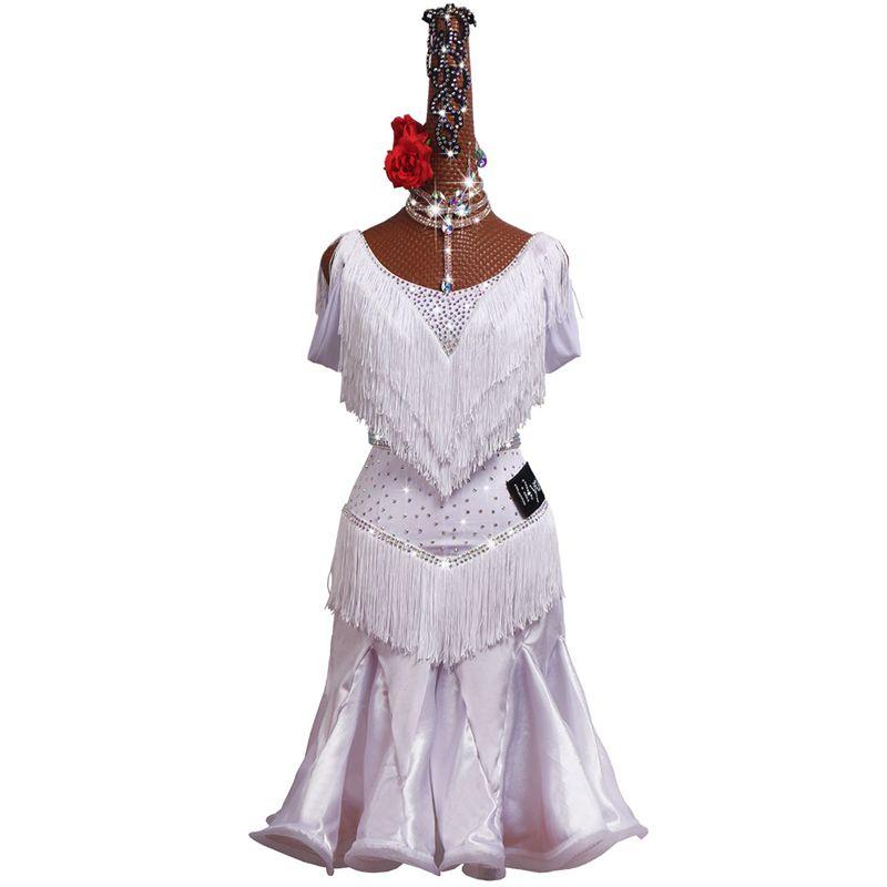 2019 New Girls Adult Modern Ballroom Latin Dance Dress White Tassel Fringe Salsa Tango Dance Wear Black Performance Stage Wear