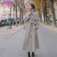 2019 new Korean version of the thick female autumn and winter women's long section of the thousand bird's wool coat brand children s clothing in the big girl wool coat autumn and winter children s long section of the red double breasted trench