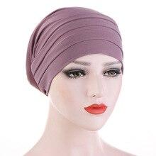2020 새로운 봄 캔디 컬러 터번 캡 화학 요법 머리띠 이마 더미 모자 이슬람 Headscarf 여성 헤어 액세서리