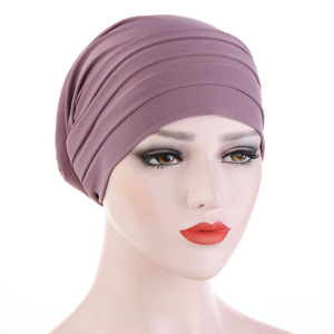 Image 1 - 2020 New Spring Candy Color Turban Cap Chemotherapy Headband Forehead Pile Hat Muslim Headscarf Women Hair Accessories
