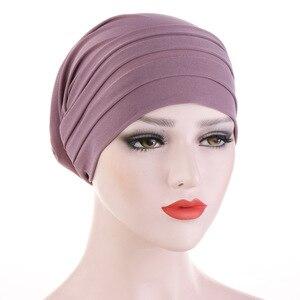 Image 1 - 2020 חדש אביב צבעים בוהקים טורבן כובע כימותרפיה סרט מצח ערימת כובע כיסוי ראש מוסלמי נשים שיער אבזרים