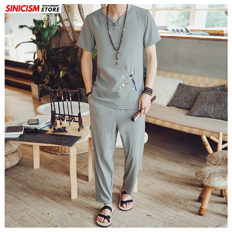 Sinicism Store Embroidery Summer Tracksuit Men 2020 Mens Linen Shorts Suit Sets Male Fashion Casual Chinese Style 2 Piece Sets