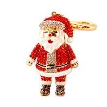 Стразы Хрустальная Рождественская цепочка для ключей с Санта