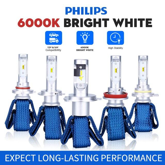 Philips H4 LED H7 H11 H8 H16 HB3 HB4 HIR2 9012 LED Car Headlight Bulbs 6000K Fog Lights luces led para auto diode lamps for cars