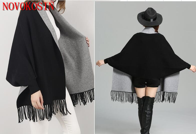 2019 Oversize Black With Grey Scarf Winter Knitted Poncho Women Solid 70*210cm Female Batwing Sleeves Wrap Vintage Shawl
