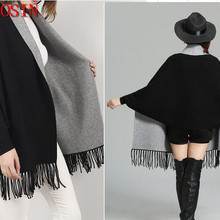 2019 Oversize Black With Grey Scarf Winter Knitted Poncho Women Solid 70*210cm F