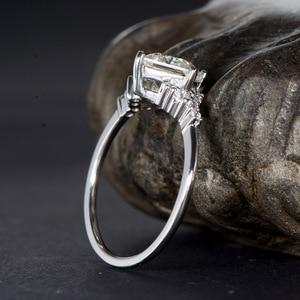 Image 5 - Kuololit 14K 585 beyaz altın Moissanite yüzükler kadınlar için Lab yetiştirilen kare kesim muhteşem elmas düğün nişan güzel takı