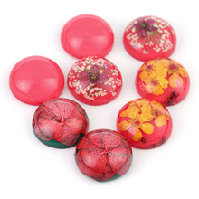 5pcs/lot Epoxy Resin Dried Flower Round Glass Cabochon 20mm Cabochon Demo Flat Back Making findings Cabochons For Jewelry Making