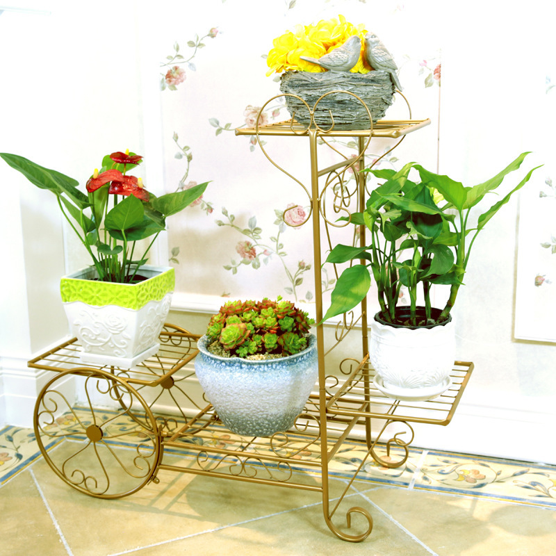 Nordic Gold Metal Plant Stand White Flower Rack Iron Car Shape Garden Stand Ladder Shelf Plants Stand Outdoor Balcony Decoration