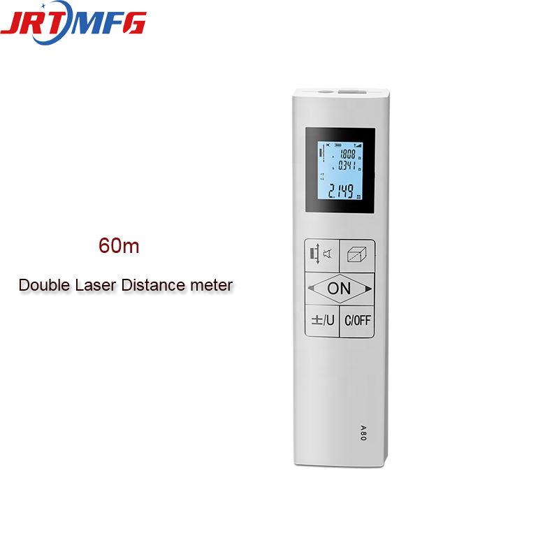 Jrtmfg medidor laser novo duplo medidor de distância laser bidirecional rangefinder 60m handheld laser medidor digital recarregável