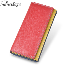 DICIHAYA Women Genuine Leather Wallets Cowhide Leather Purse Match Colors Wallet Female Long Clutch Card Holder Free shipping